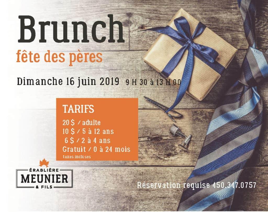 Brunch de la fête des pères. Dimanche 16 juin 2019 de 9h30 à 13h. Appelez 450-347-0757 pour réserver.