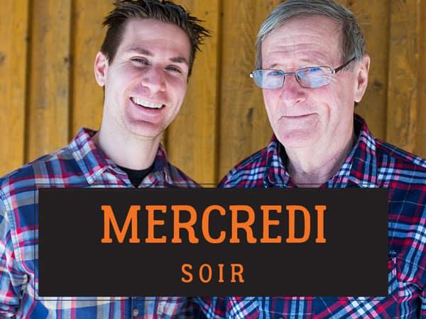 Philippe et Raymond Meunier portant une chemise à carreaux